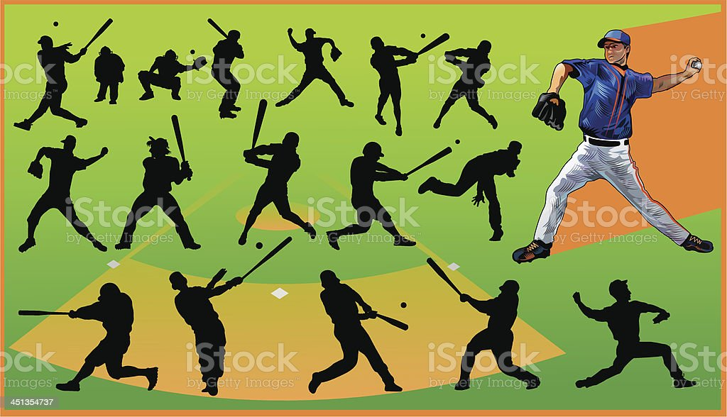 Baseball and Silhouettes royalty-free stock vector art