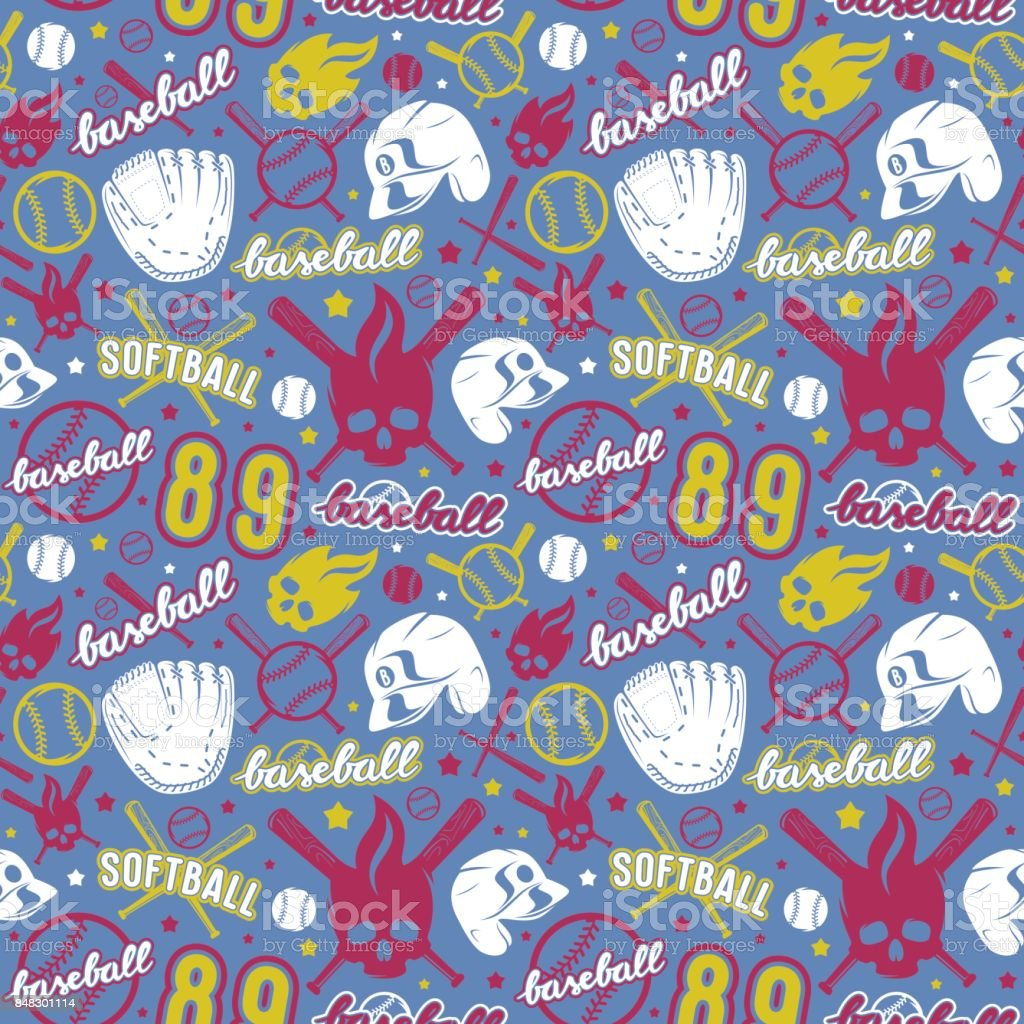 Baseball and softball seamless pattern. Color print on blue background