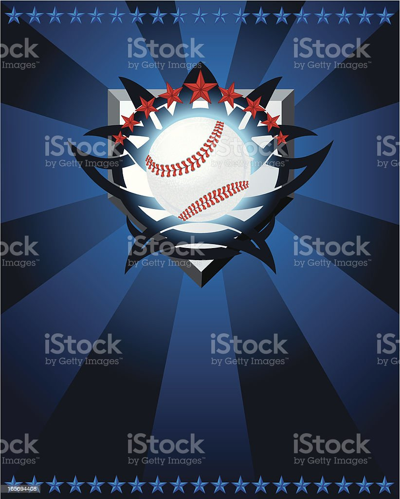 Graphic illustration of a baseball, home plate, stars and tattoo...