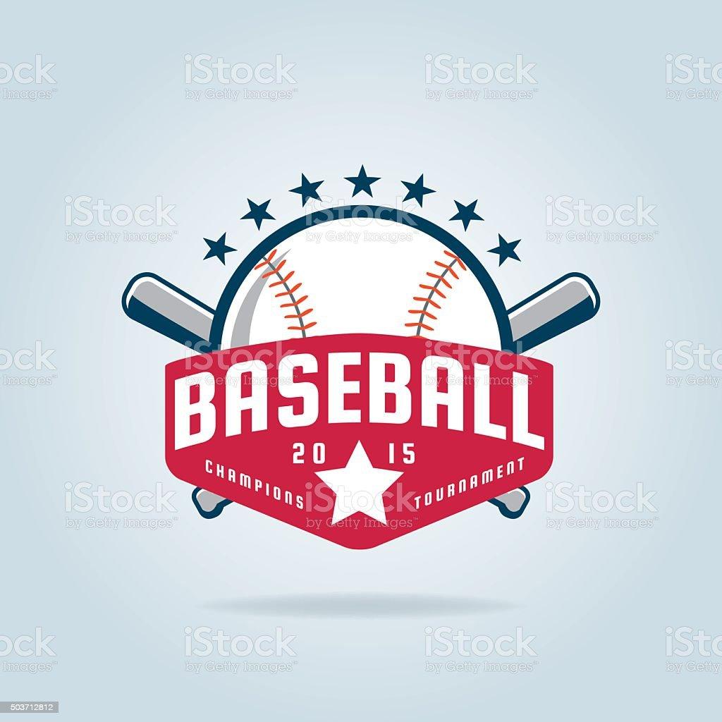 Baseball badge vector art illustration