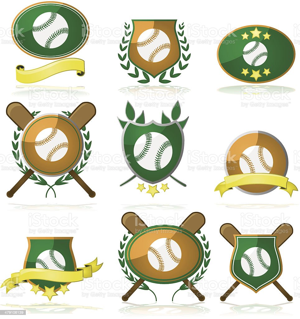 Baseball badges vector art illustration
