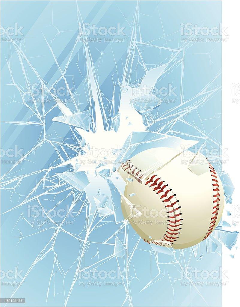 Baseball ball & broken glass royalty-free stock vector art