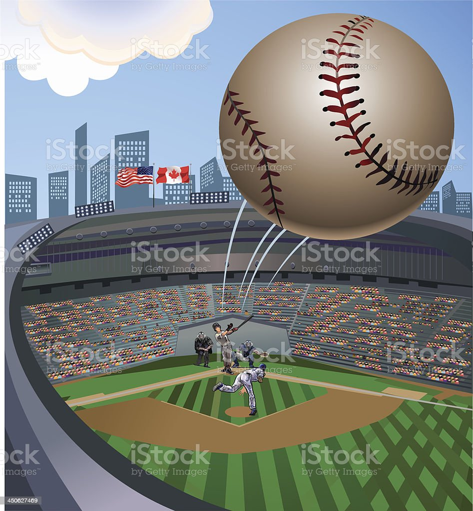 Baseball ball fly out of stadium vector art illustration