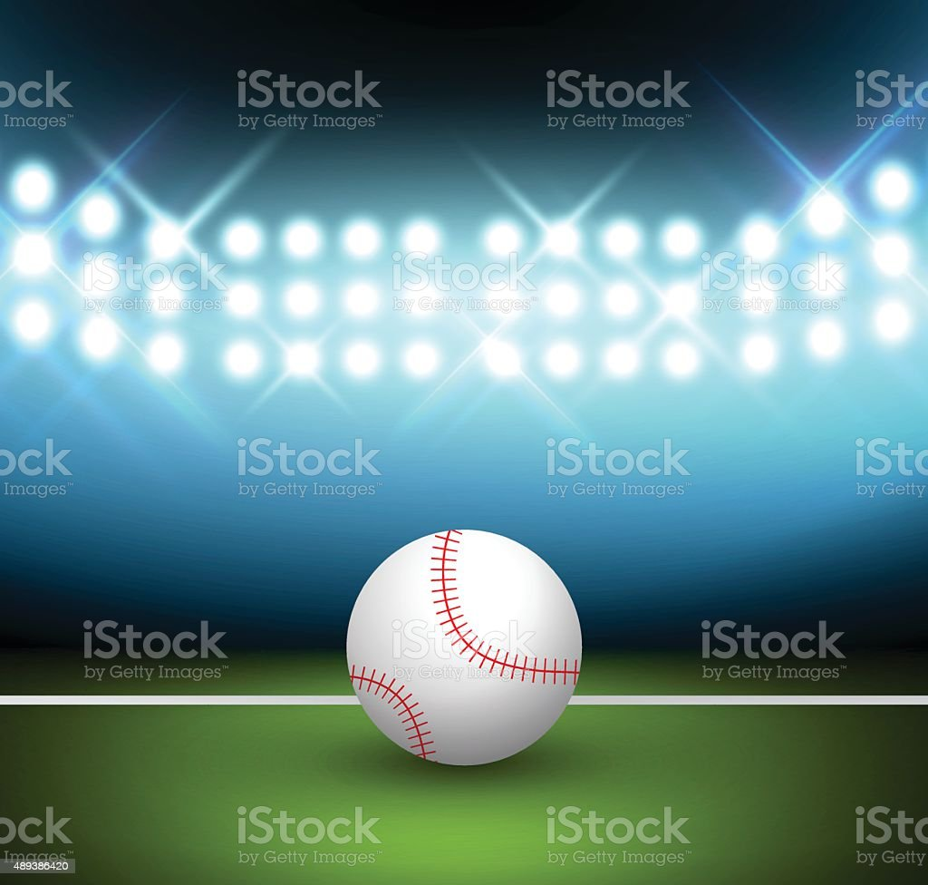 Baseball ball on a field vector art illustration