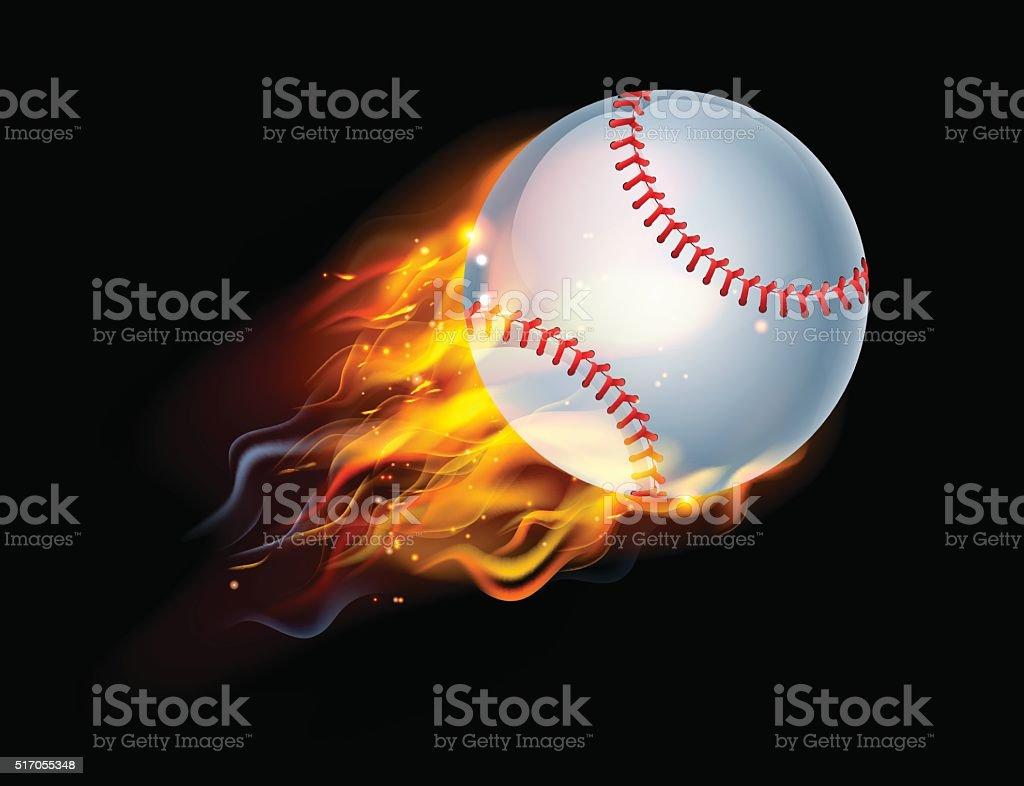 Baseball Ball on Fire vector art illustration