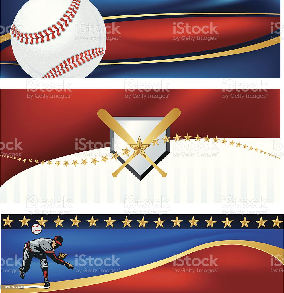 Baseball Banner Background with Stars and Stripes royalty-free stock vector art