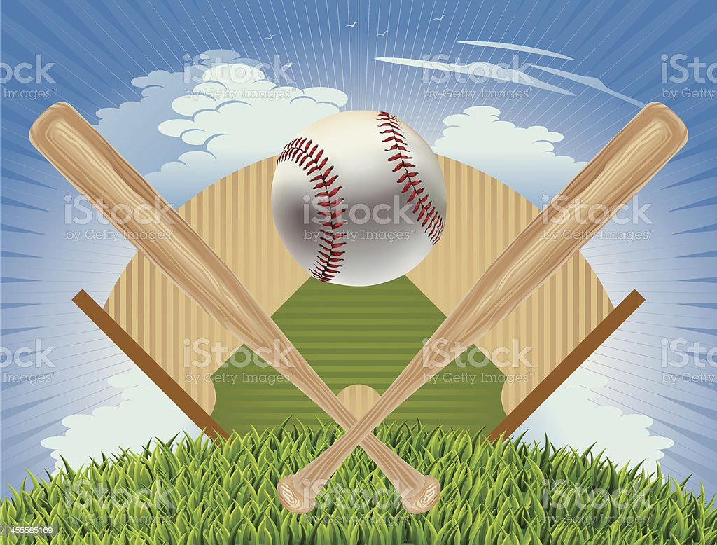 Baseball, Baseball Bat and Field Plan Vector royalty-free stock vector art