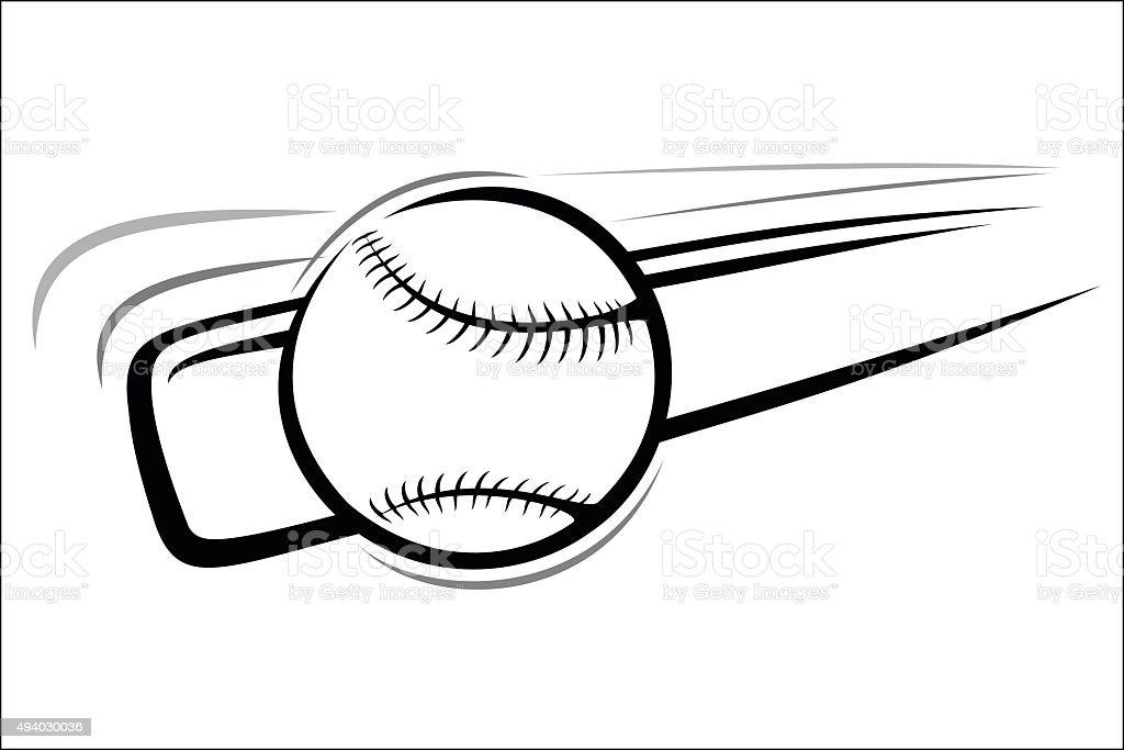 Baseball bat and ball royalty-free stock vector art
