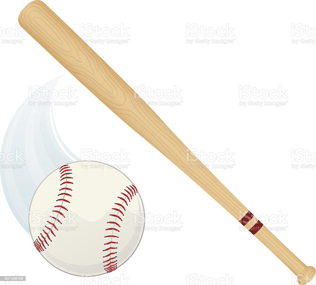 Baseball Bat and Ball vector art illustration