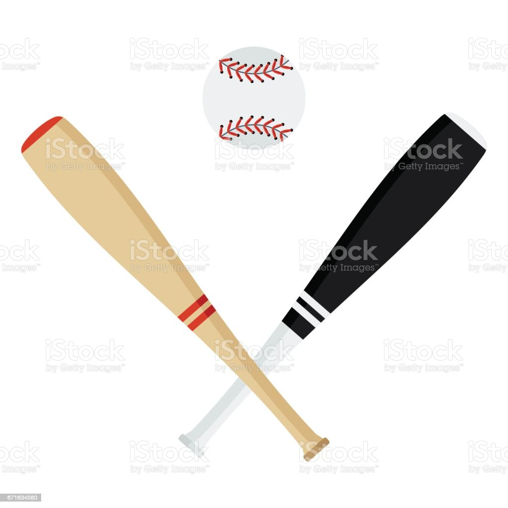 Crossed baseball bats and ball. Flat vector cartoon illustration....
