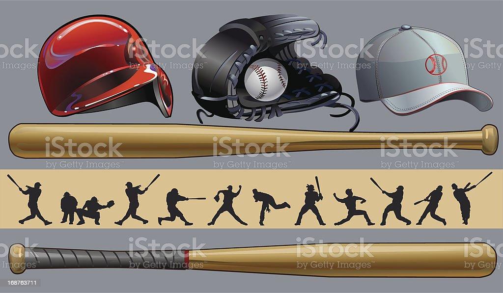 Baseball. Bat. Mitt. Cap. royalty-free stock vector art