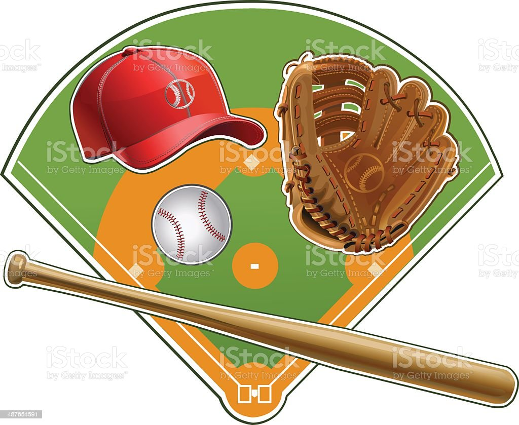 Baseball Bats and Ball Graphic Image vector art illustration