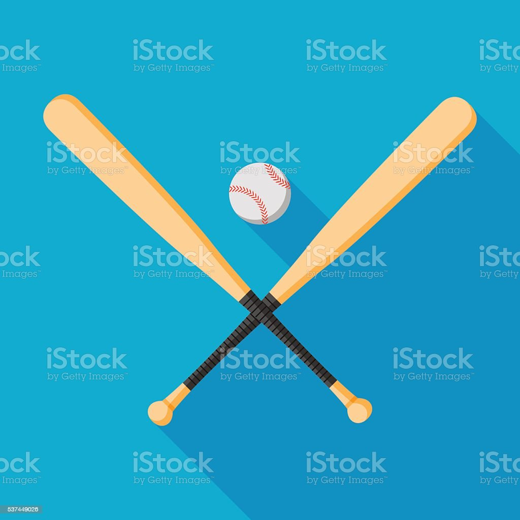 baseball bats and ball icon with long shadow. flat style vector...