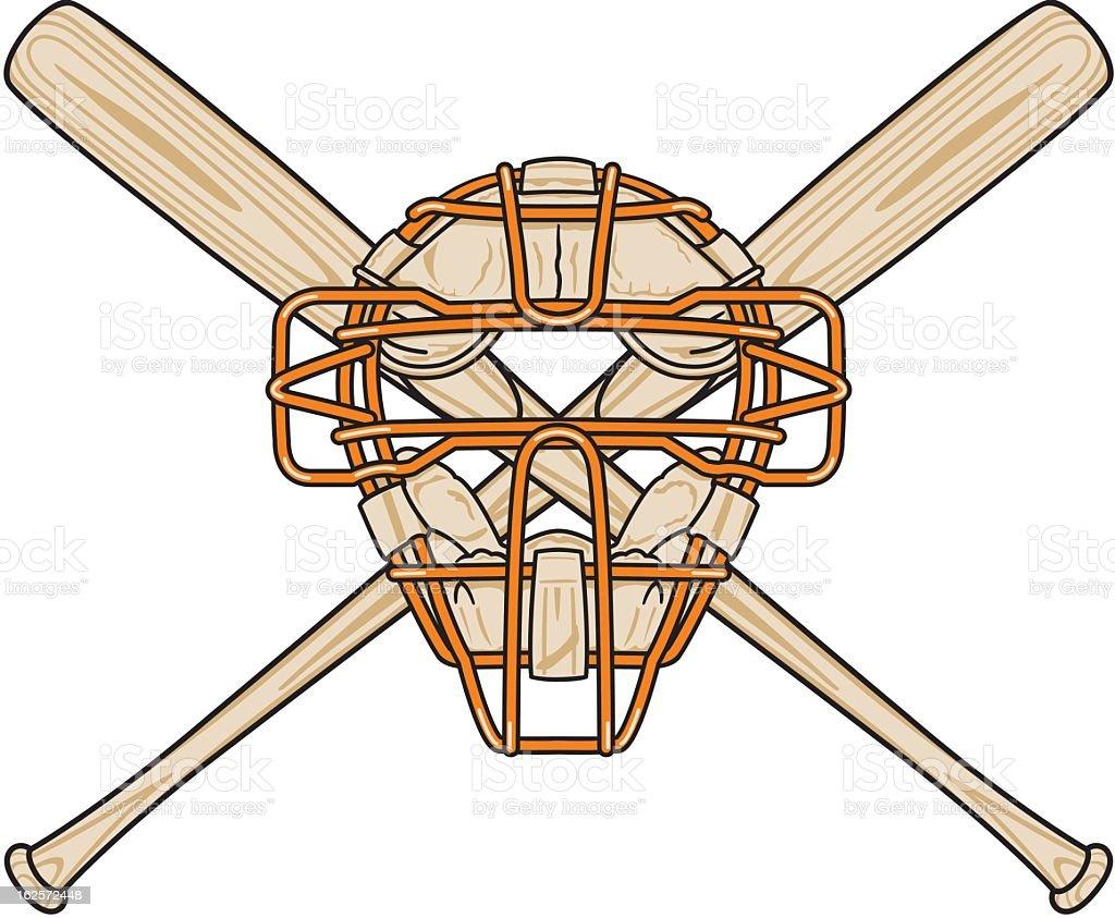 Baseball Bats and Mask royalty-free stock vector art