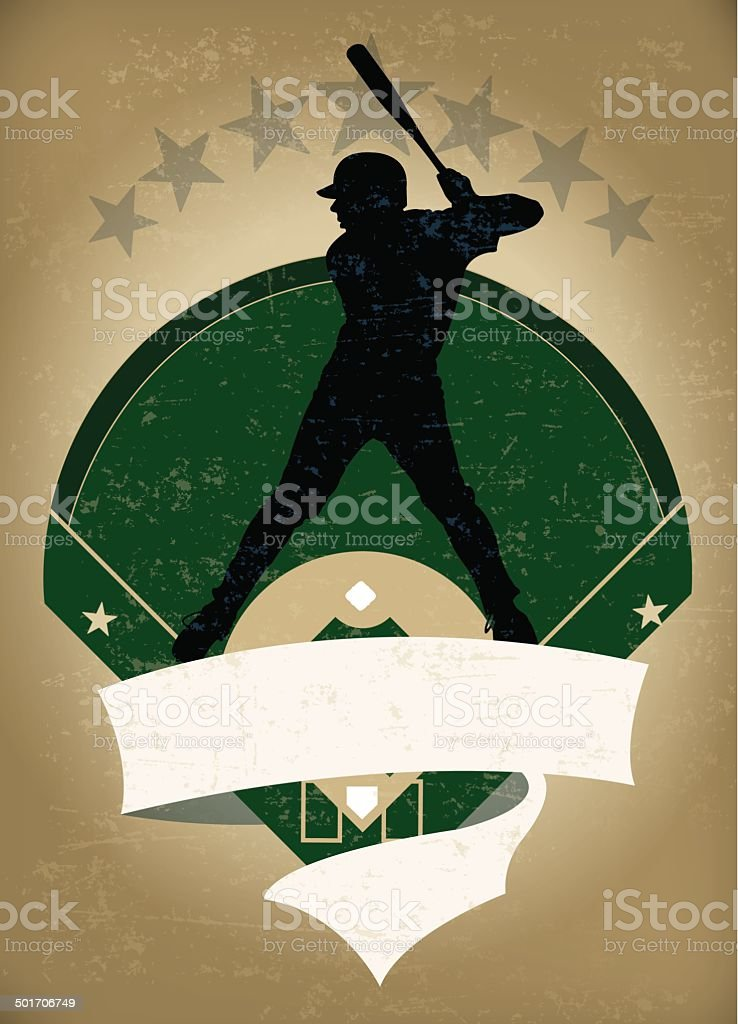 Baseball Batter Banner Background vector art illustration