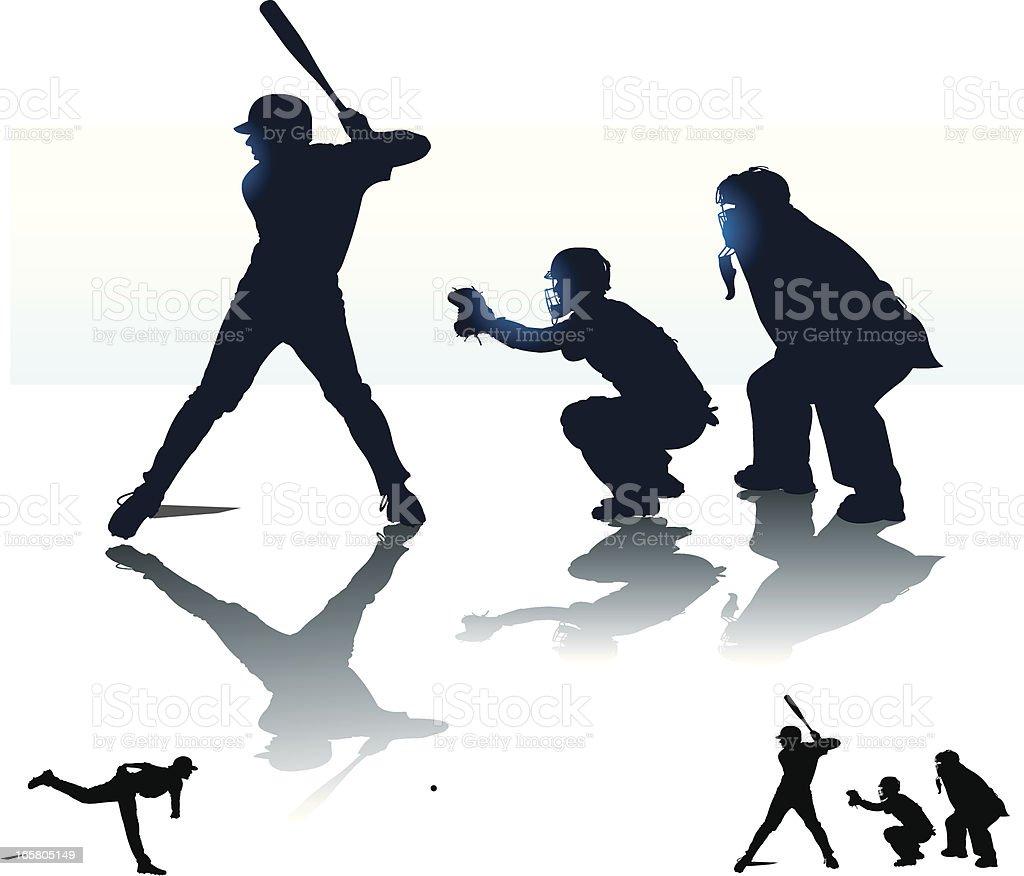 Baseball Batter Batting with Catcher & Umpire - At Bat vector art illustration