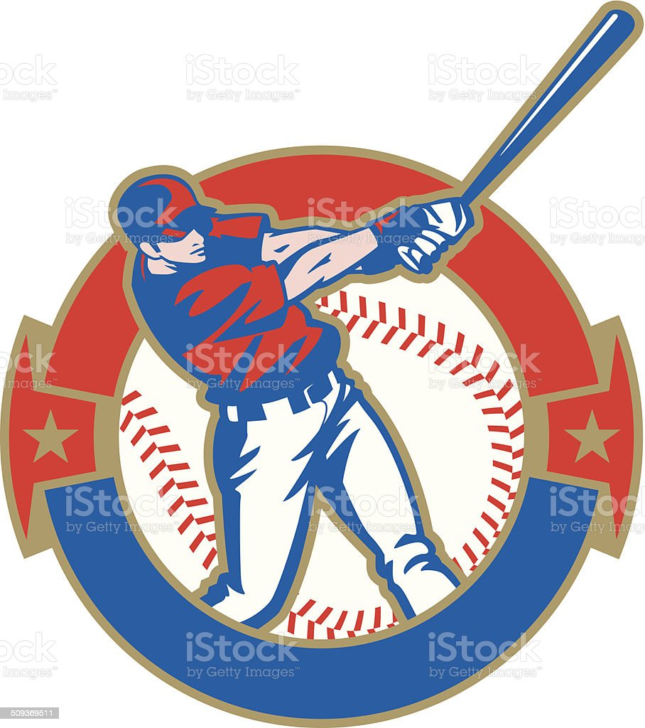 Baseball Batter Crest vector art illustration