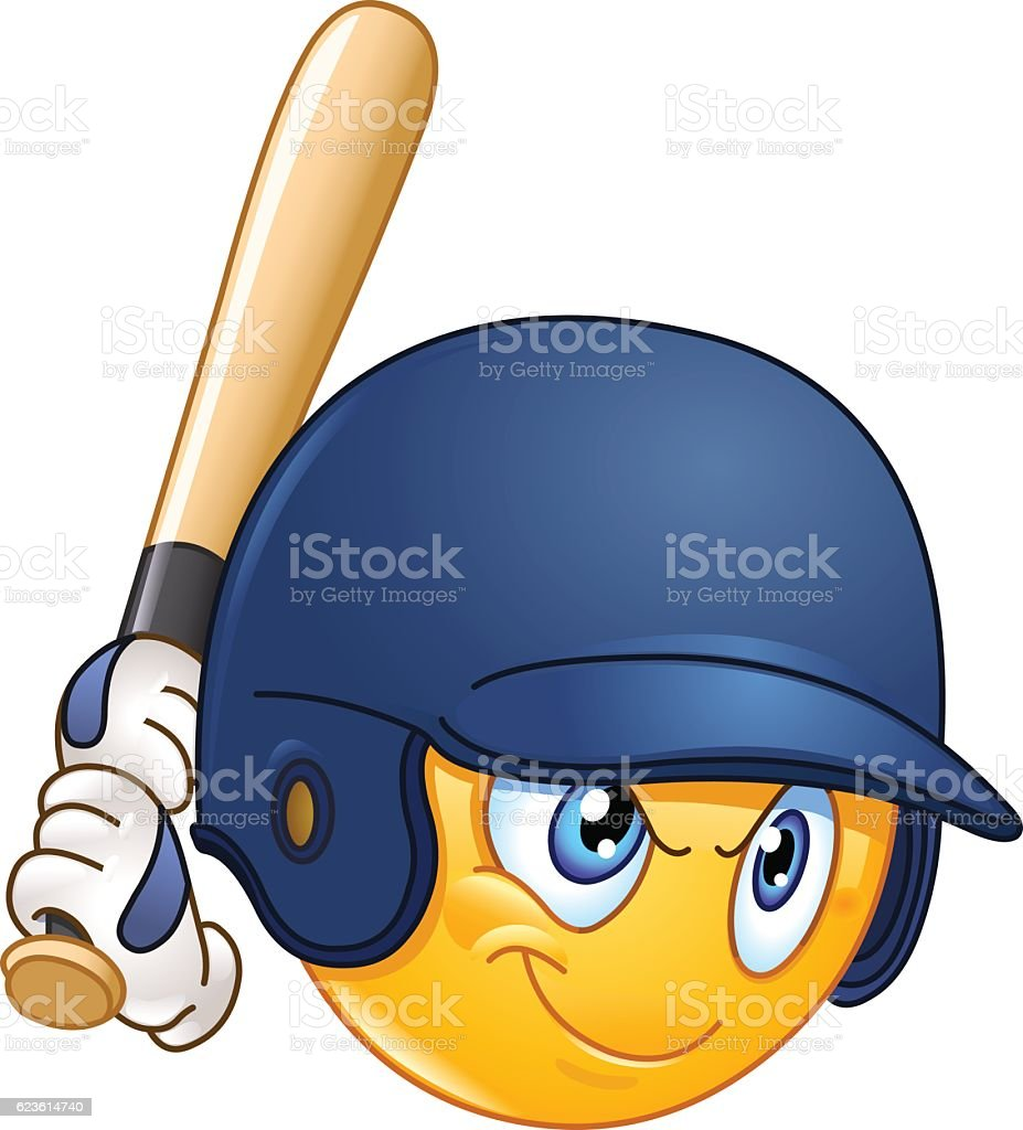 Baseball batter emoticon vector art illustration