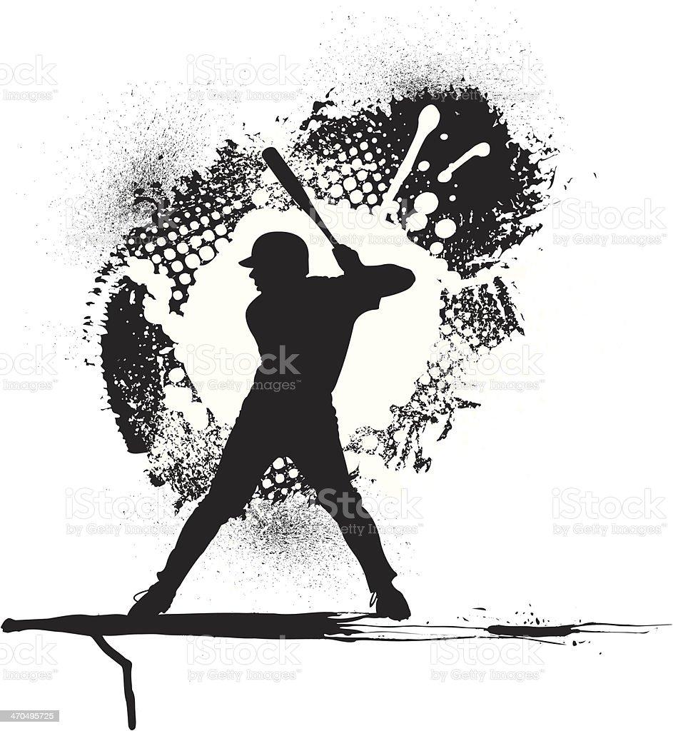 Baseball Batter Grunge Graphic Background vector art illustration