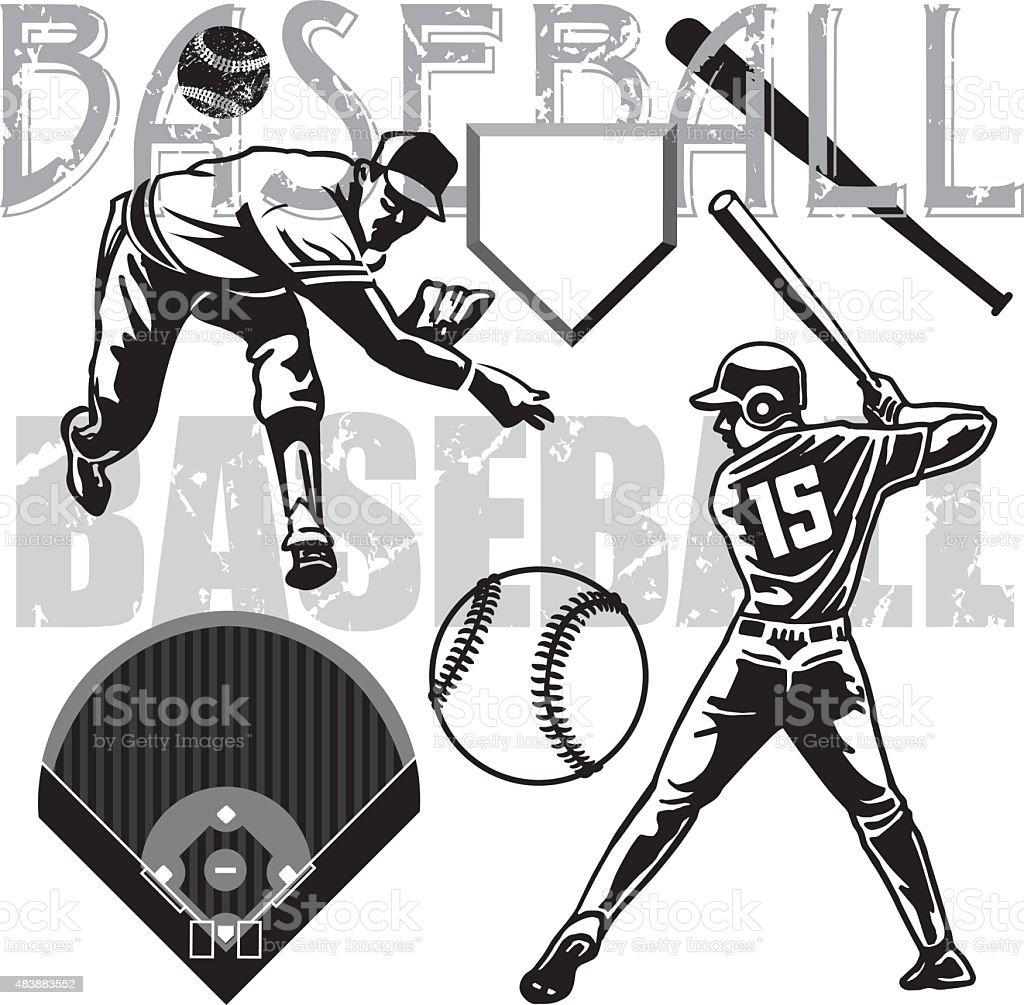 Baseball Batter, Pitcher, Equipment vector art illustration