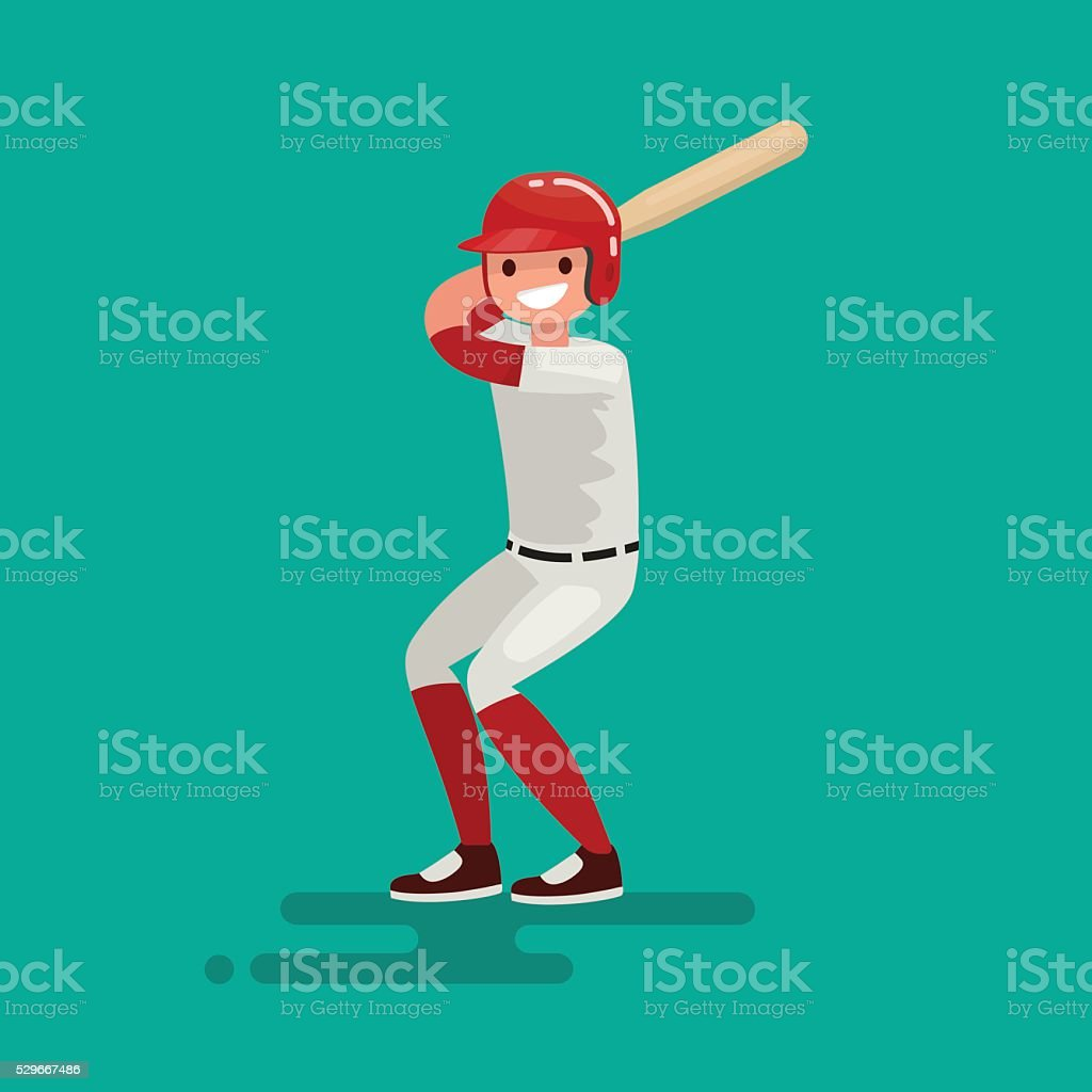 Baseball  batter player with bat. Vector Illustration vector art illustration