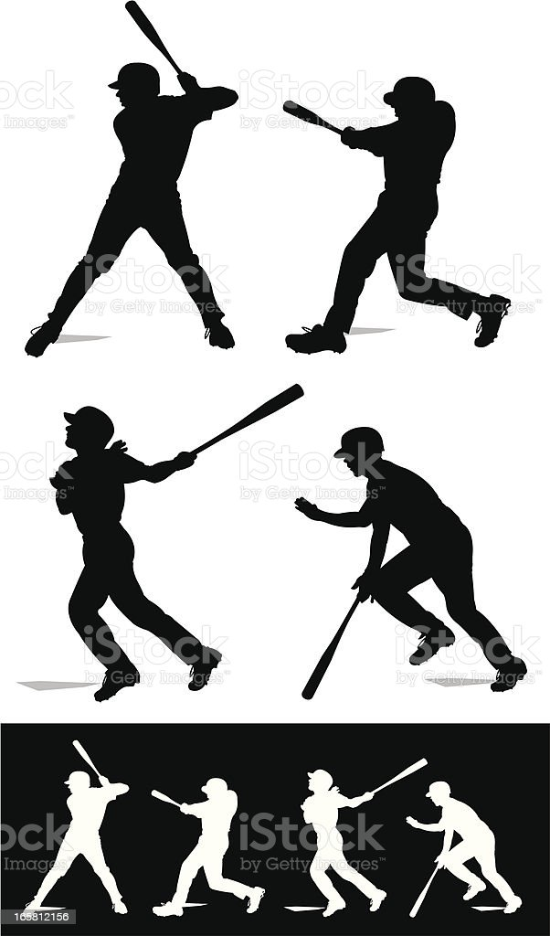 Baseball Batters Swinging - At Bat royalty-free stock vector art
