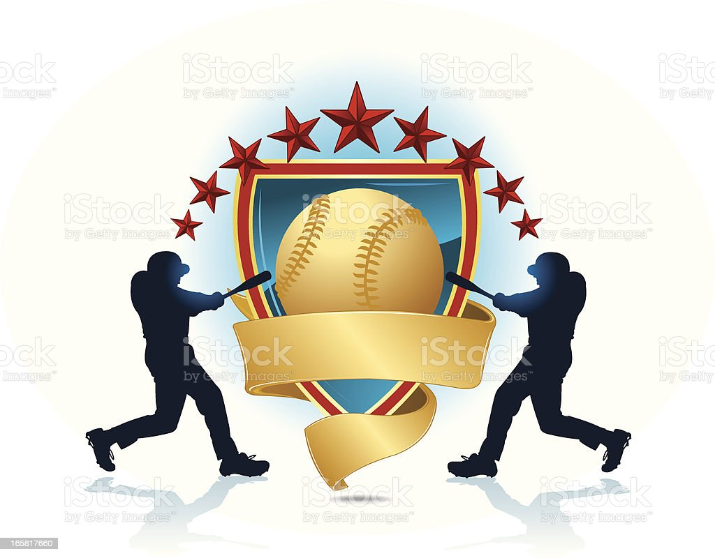 Baseball Batters with banner Shield royalty-free stock vector art