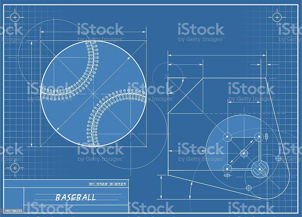 Baseball Blueprint vector art illustration