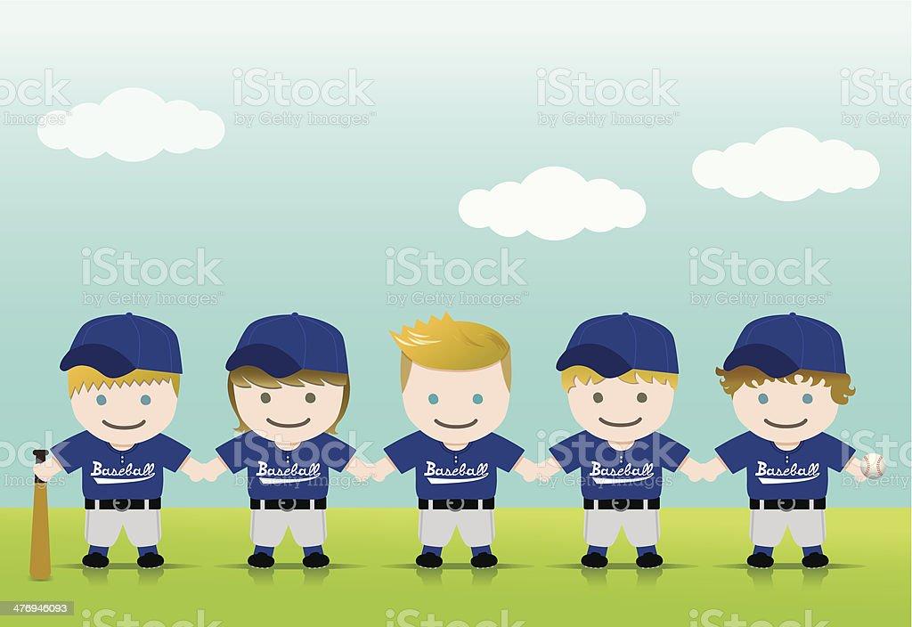Baseball Boys Blond Brown Team royalty-free stock vector art