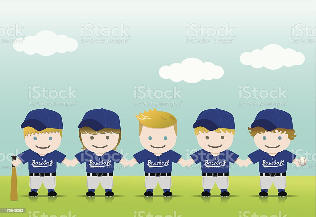 Baseball Boys Blond Brown Team vector art illustration