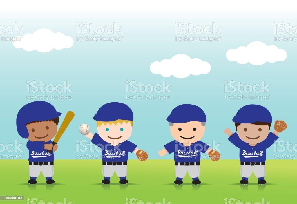 Baseball Boys Positions vector art illustration
