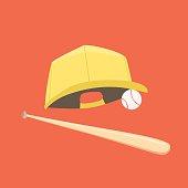 Baseball cap, ball and bat isolated on orange background
