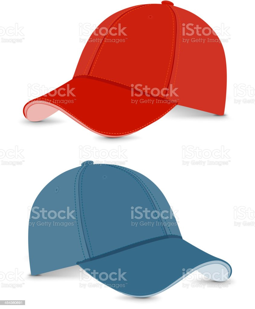 baseball cap blue+red vector art illustration
