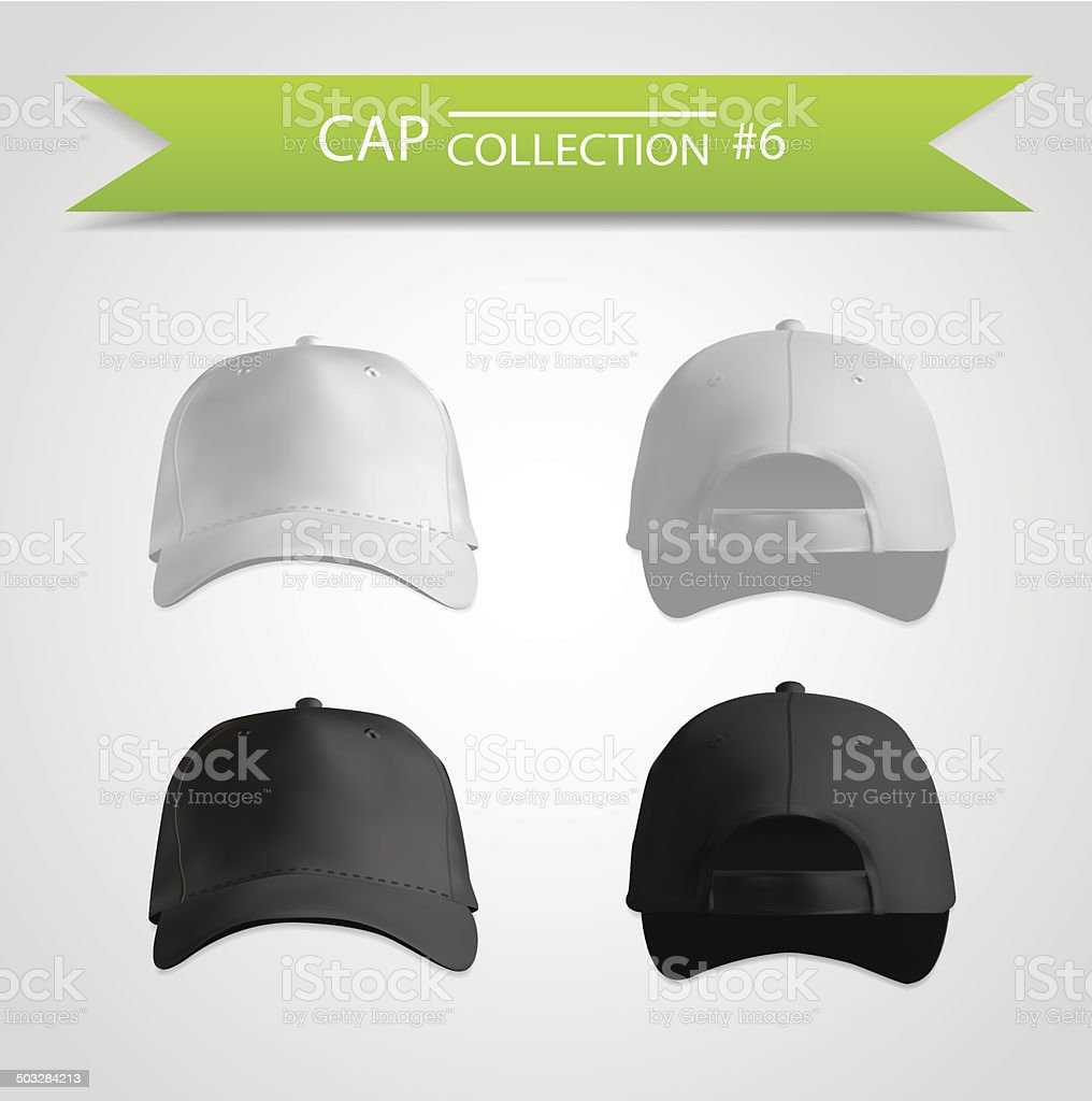 Baseball cap collection for branding vector art illustration