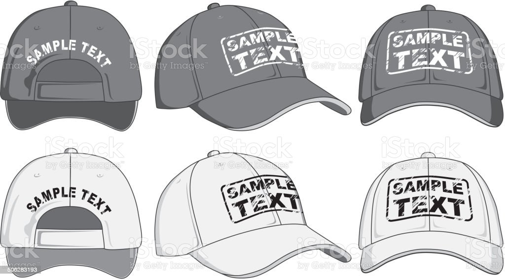 Baseball cap, front, back and side view vector art illustration