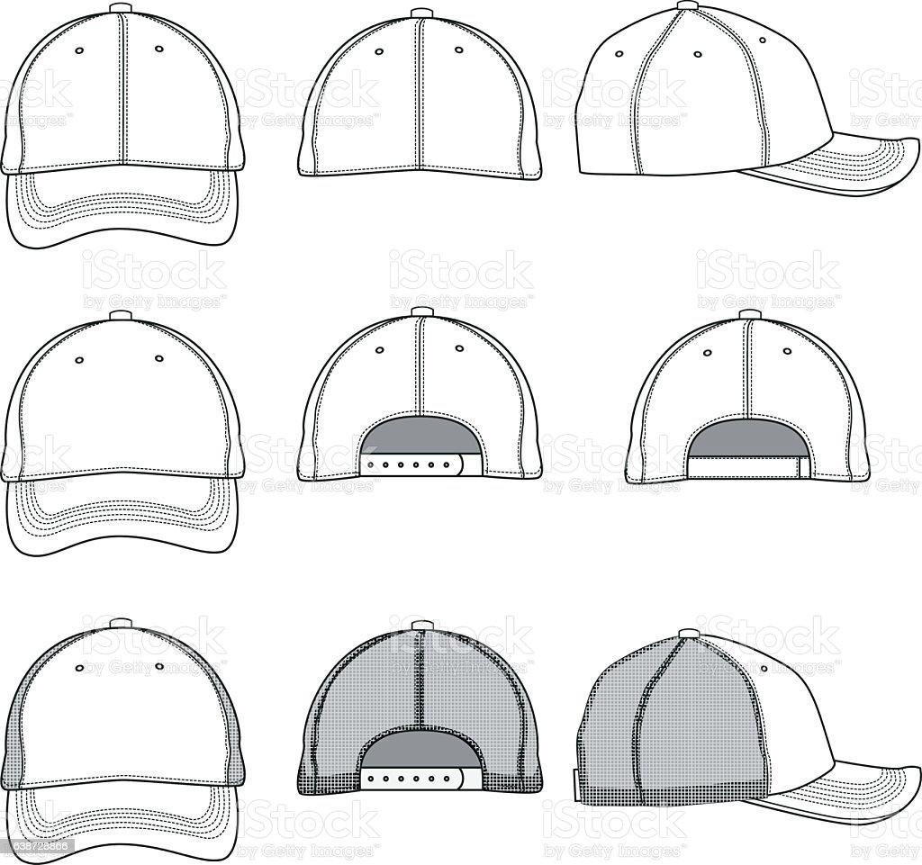 Baseball cap template vector art illustration