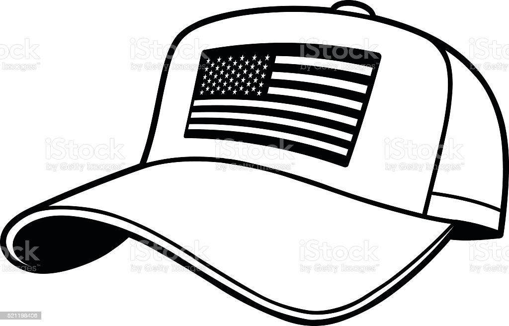 Baseball Cap with US Flag Illustration vector art illustration