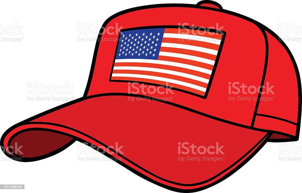 Baseball Cap with US Flag vector art illustration