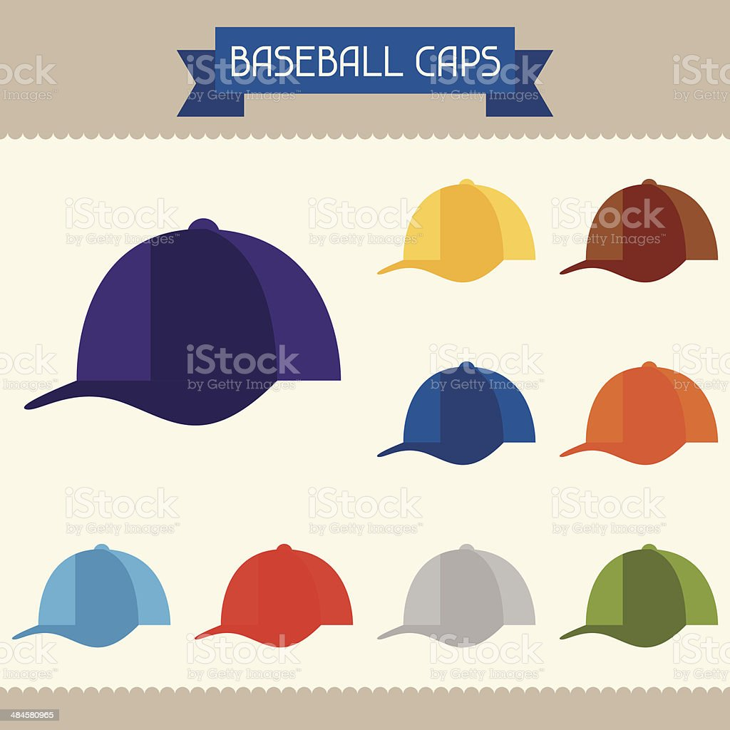 Baseball caps colored templates for your design in flat style. vector art illustration
