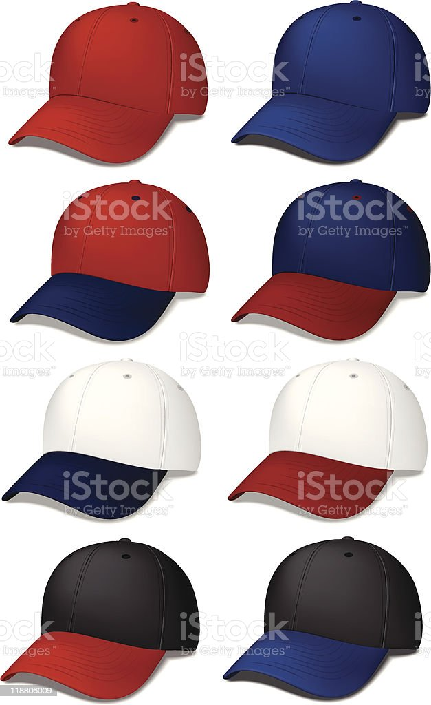 Baseball Caps - realistic vector illustrations royalty-free stock vector art