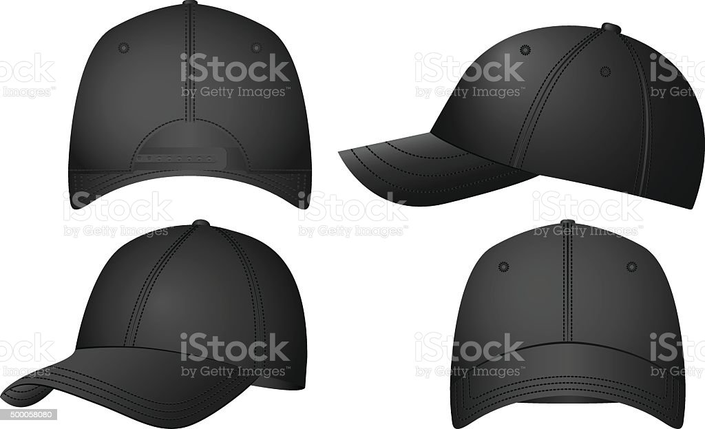 Baseball caps set vector art illustration