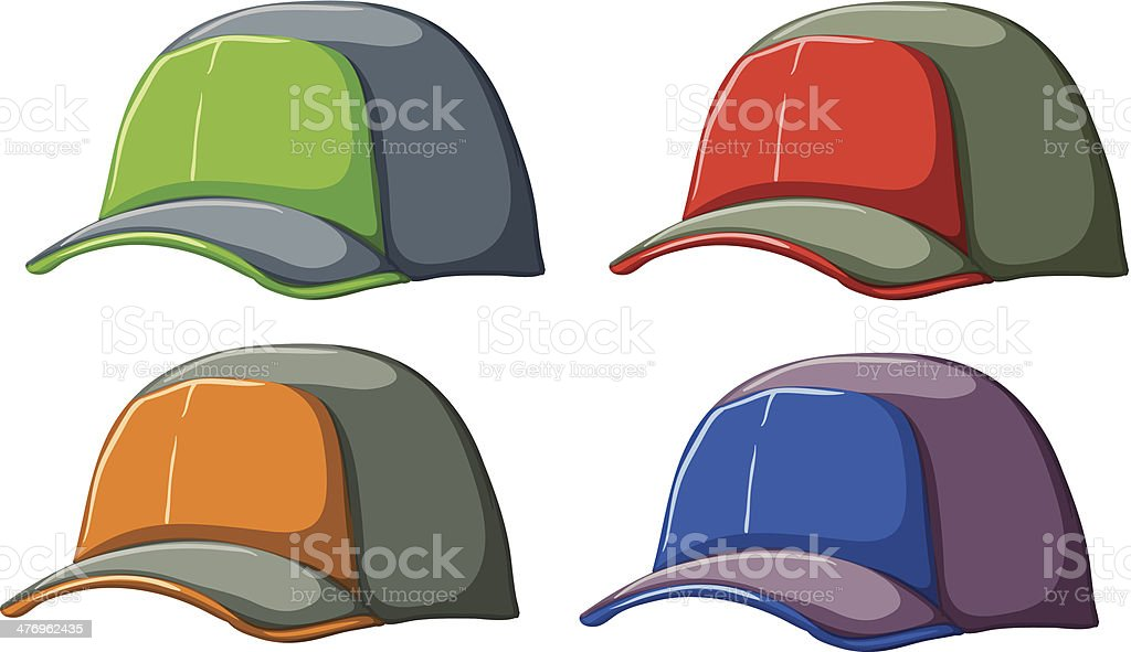 Baseball caps royalty-free stock vector art