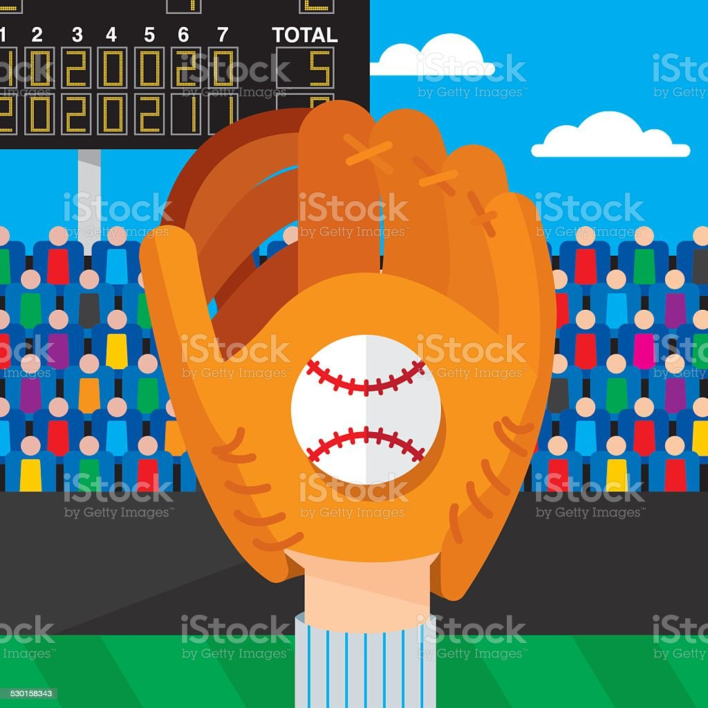 Baseball Catch vector art illustration