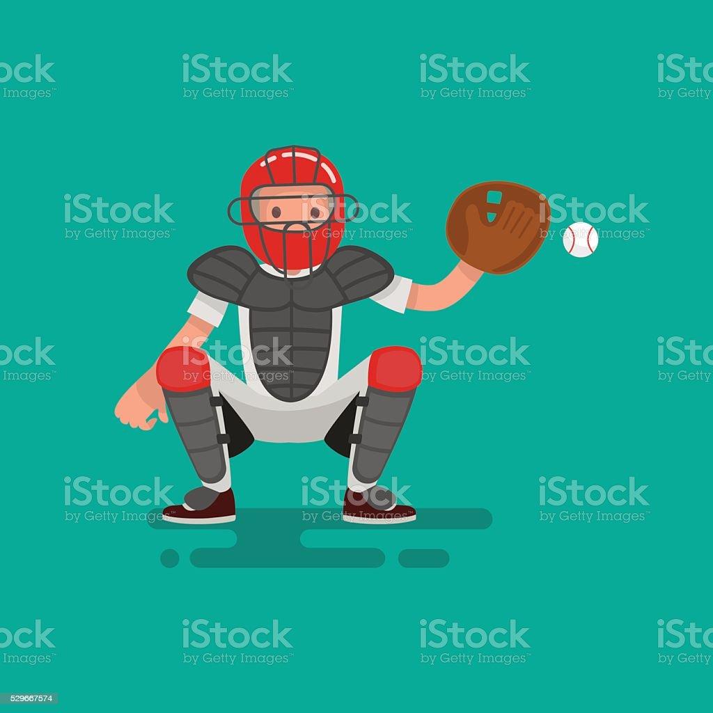 Baseball catcher  player catches the ball . Vector Illustration vector art illustration