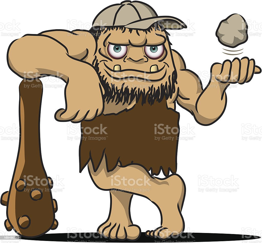 Baseball Caveman royalty-free stock vector art
