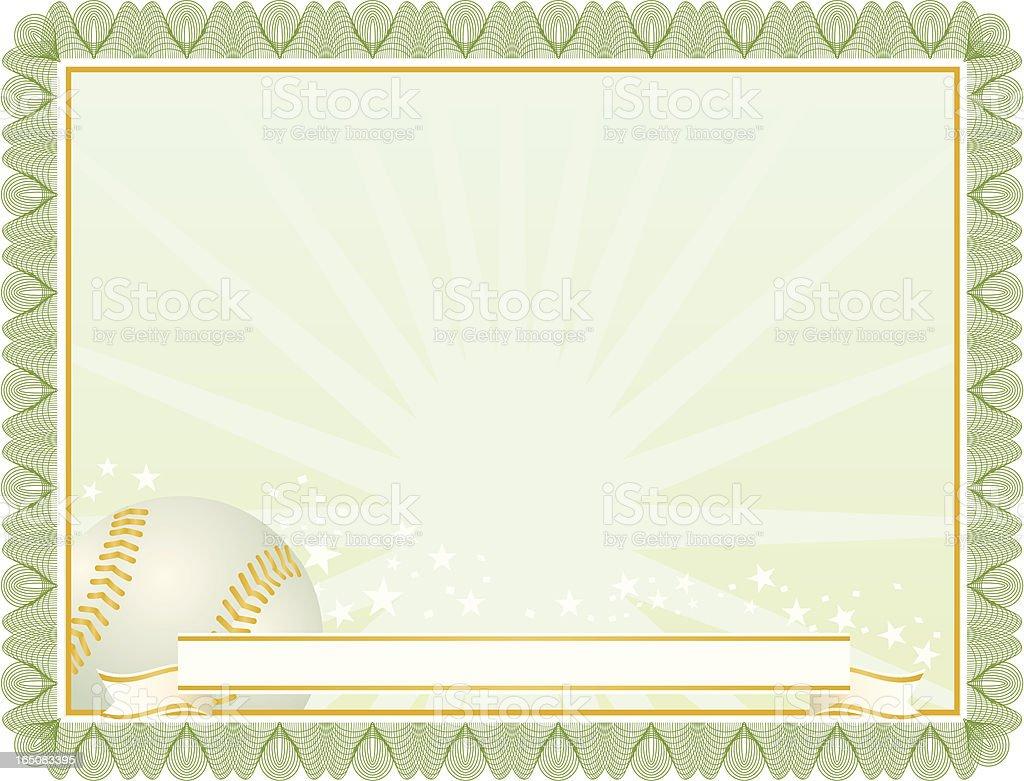 Baseball certificate royalty-free stock vector art