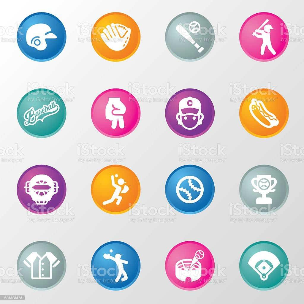 Baseball Circle Color Icons vector art illustration