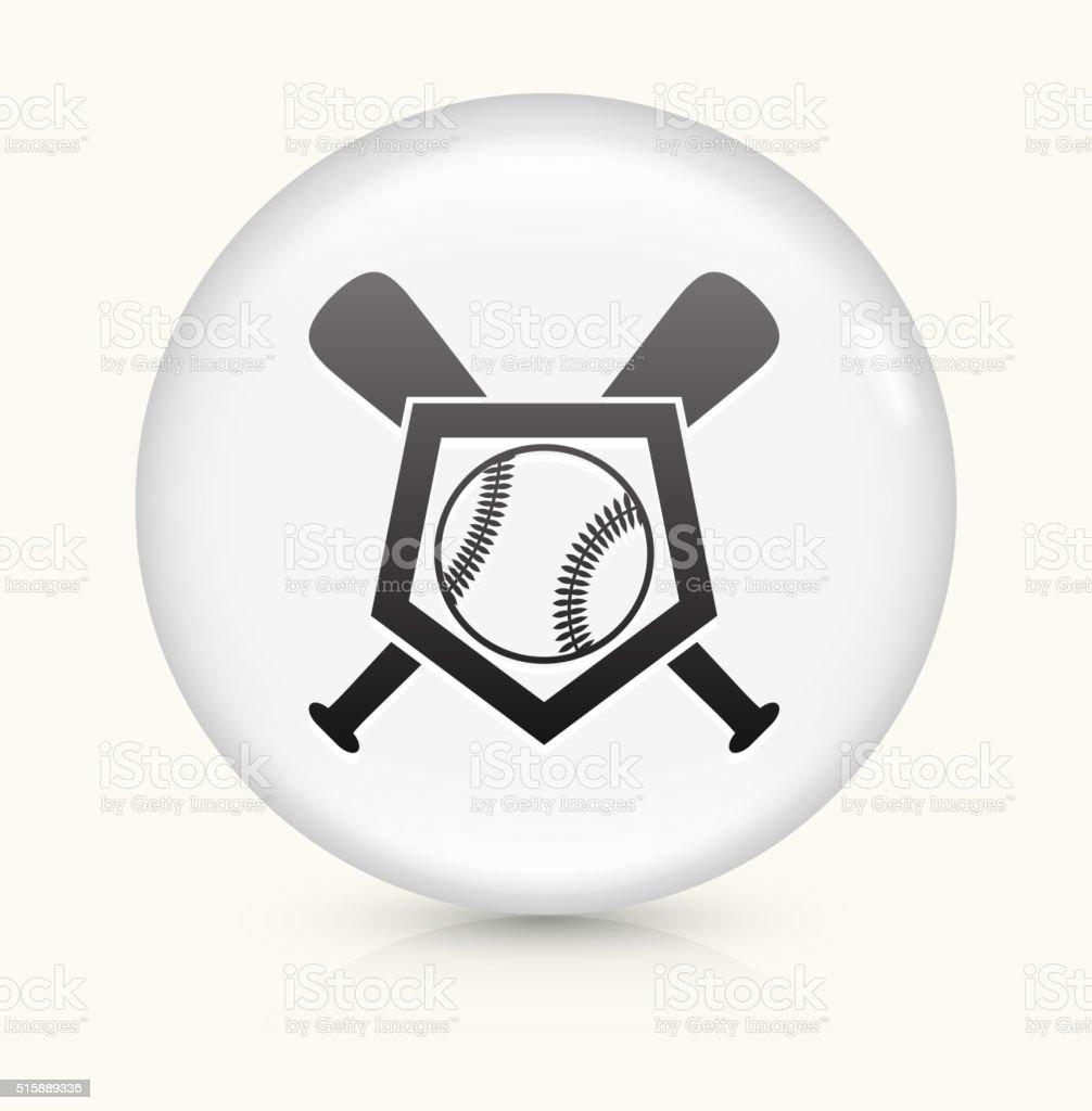 Baseball Crest icon on white round vector button vector art illustration