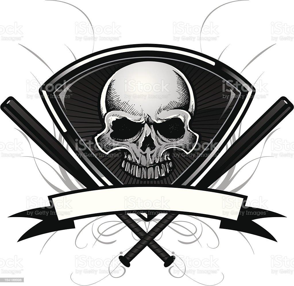 Baseball Crest: Skull Tattoo Version royalty-free stock vector art