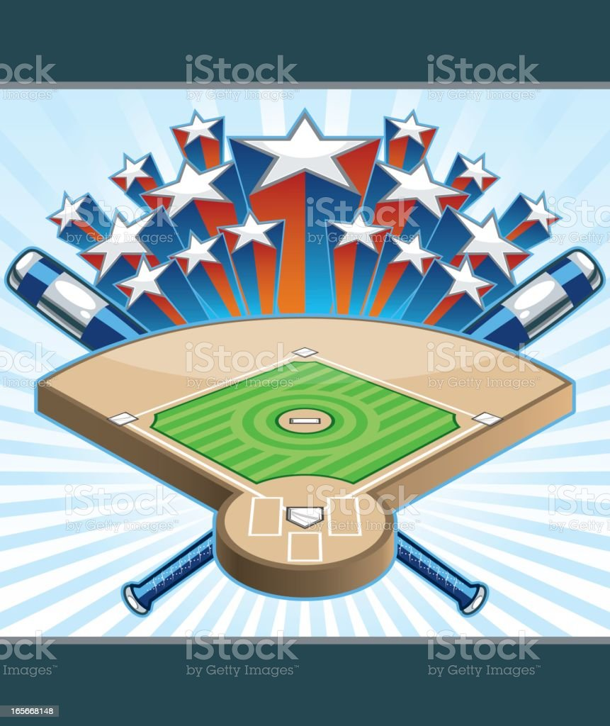 Baseball Diamond with Stars royalty-free stock vector art